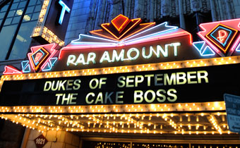 Paramount Theatre sign at night